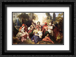 The Decameron 24x18 Black or Gold Ornate Framed and Double Matted Art Print by Franz Xaver Winterhalter