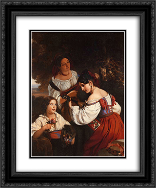 Roman Genre Scene 20x24 Black or Gold Ornate Framed and Double Matted Art Print by Franz Xaver Winterhalter