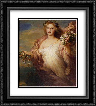 Der Frubling 20x22 Black or Gold Ornate Framed and Double Matted Art Print by Franz Xaver Winterhalter