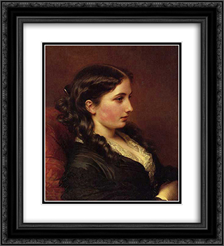 Study of a Girl in Profile 20x22 Black or Gold Ornate Framed and Double Matted Art Print by Franz Xaver Winterhalter