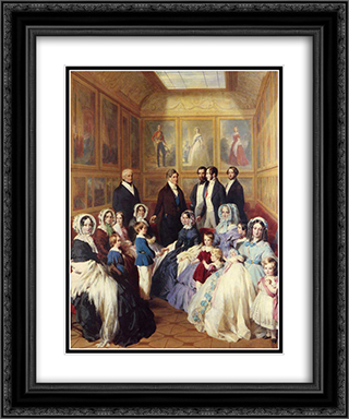 Queen Victoria and Prince Albert with the Family of King Louis Philippe at the Chateau D'Eu 20x24 Black or Gold Ornate Framed and Double Matted Art Print by Franz Xaver Winterhalter