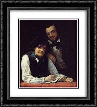 Self Portrait of the Artist with his Brother, Hermann 20x22 Black or Gold Ornate Framed and Double Matted Art Print by Franz Xaver Winterhalter
