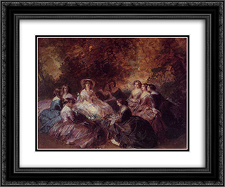 The Empress Eugenie Surrounded by her Ladies in Waiting 24x20 Black or Gold Ornate Framed and Double Matted Art Print by Franz Xaver Winterhalter
