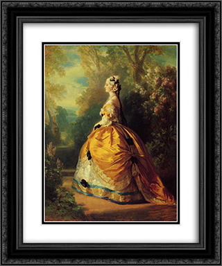 The Empress Eugenie a la Marie'Antoinette 20x24 Black or Gold Ornate Framed and Double Matted Art Print by Franz Xaver Winterhalter
