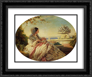 Queen Victoria with Prince Arthur 24x20 Black or Gold Ornate Framed and Double Matted Art Print by Franz Xaver Winterhalter