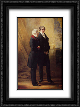 Arthur Wellesley, 1st Duke of Wellington with Sir Robert Peel 18x24 Black or Gold Ornate Framed and Double Matted Art Print by Franz Xaver Winterhalter