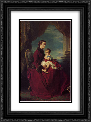 The Empress Eugenie Holding Louis Napoleon, the Prince Imperial on her Knees 18x24 Black or Gold Ornate Framed and Double Matted Art Print by Franz Xaver Winterhalter