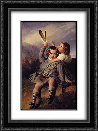 Prince Alfred and Princess Helena 18x24 Black or Gold Ornate Framed and Double Matted Art Print by Franz Xaver Winterhalter