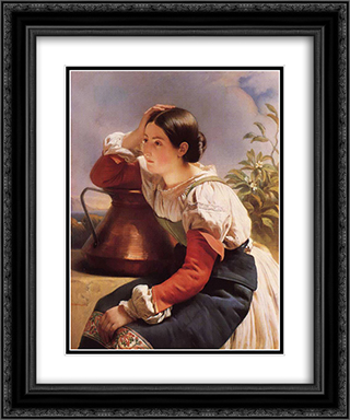 Young Italian Girl by the Well 20x24 Black or Gold Ornate Framed and Double Matted Art Print by Franz Xaver Winterhalter