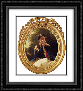 Princess Leonilla of Sayn Wittgenstein'Sayn 20x22 Black or Gold Ornate Framed and Double Matted Art Print by Franz Xaver Winterhalter