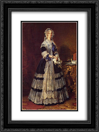 Queen Marie Amelie 18x24 Black or Gold Ornate Framed and Double Matted Art Print by Franz Xaver Winterhalter