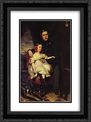 Napoleon Alexandre Louis Joseph Berthier, Prince de Wagram and his Daughter, Malcy Louise Caroline Frederique 18x24 Black or Gold Ornate Framed and Double Matted Art Print by Franz Xaver Winterhalter