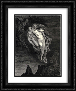 "The Inferno, Canto 5, lines 72'74: ""Bard! willingly I would address those two together coming, Which seem so light before the wind."" 20x24 Black or Gold Ornate Framed and Double Matted Art Print by Gustave Dore"