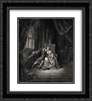 "The Inferno, Canto 5, lines 134'135: ""In its leaves that day We read no more."" 20x22 Black or Gold Ornate Framed and Double Matted Art Print by Gustave Dore"