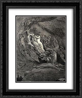 The Inferno, Canto 5, lines 137'138: I through compassion fainting, seem'd not far From death, and like a corpse fell to the ground. 20x24 Black or Gold Ornate Framed and Double Matted Art Print by Gustave Dore
