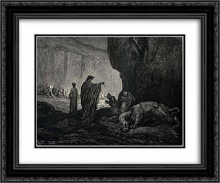 The Inferno, Canto 6, lines 24'26: Then my guide, his palms Expanding on the ground, thence filled with earth Rais'd them, and cast it in his ravenous maw. 24x20 Black or Gold Ornate Framed and Double Matted Art Print by Gustave Dore
