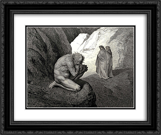 "The Inferno, Canto 7, lines 8'9: ""Curs'd wolf! thy fury inward on thyself Prey, and consume thee!"" 24x20 Black or Gold Ornate Framed and Double Matted Art Print by Gustave Dore"