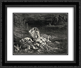 "The Inferno, Canto 7, lines 118'119: ""Now seest thou, son! The souls of those, whom anger overcame."" 24x20 Black or Gold Ornate Framed and Double Matted Art Print by Gustave Dore"