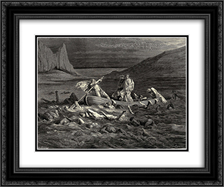 The Inferno, Canto 8, lines 27'29: Soon as both embark'd, Cutting the waves, goes on the ancient prow, More deeply than with others it is wont. 24x20 Black or Gold Ornate Framed and Double Matted Art Print by Gustave Dore