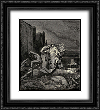 "The Inferno, Canto 8, lines 39'41: My teacher sage Aware, thrusting him back: ""Away! down there To the' other dogs!"" 20x22 Black or Gold Ornate Framed and Double Matted Art Print by Gustave Dore"