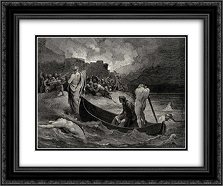 The Inferno, Canto 8, lines 110'111: I could not hear what terms he offer'd them, But they conferr'd not long 24x20 Black or Gold Ornate Framed and Double Matted Art Print by Gustave Dore