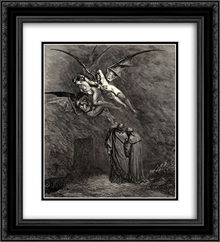 "The Inferno, Canto 9, line 46: ""Mark thou each dire Erinnys. 20x22 Black or Gold Ornate Framed and Double Matted Art Print by Gustave Dore"