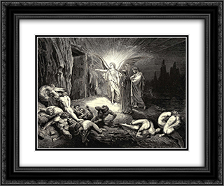 The Inferno, Canto 9, lines 87'89: To the gate He came, and with his wand touch'd it, whereat Open without impediment it flew. 24x20 Black or Gold Ornate Framed and Double Matted Art Print by Gustave Dore