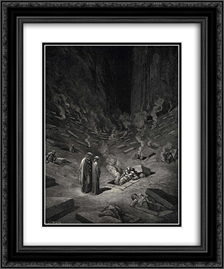 "The Inferno, Canto 9, lines 124'126: ""He answer thus return'd: The arch'heretics are here, accompanied By every sect their followers;"" 20x24 Black or Gold Ornate Framed and Double Matted Art Print by Gustave Dore"