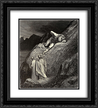 The Inferno, Canto 12, lines 11'14: and there At point of the disparted ridge lay stretch'd The infamy of Crete, detested brood Of the feign'd heifer 20x22 Black or Gold Ornate Framed and Double Matted Art Print by Gustave Dore