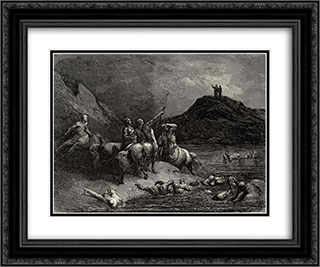 "The Inferno, Canto 12, lines 38'39: One cried from far: ""Say to what pain ye come, Condemn'd, who down this steep have journied?"" 24x20 Black or Gold Ornate Framed and Double Matted Art Print by Gustave Dore"