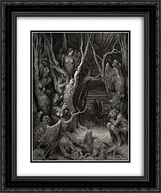 The Inferno, Canto 13, lines 11: Here the brute Harpies make their nest 20x24 Black or Gold Ornate Framed and Double Matted Art Print by Gustave Dore