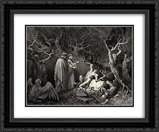 "The Inferno, Canto 13, line 34: And straight the trunk exclaim'd: ""Why pluck'st thou me?"" 24x20 Black or Gold Ornate Framed and Double Matted Art Print by Gustave Dore"
