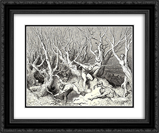 "The Inferno, Canto 13, line 120: ""Haste now,"" the foremost cried, ""now haste thee death!"" 24x20 Black or Gold Ornate Framed and Double Matted Art Print by Gustave Dore"