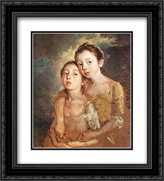 Artist's daughters with a cat 20x22 Black or Gold Ornate Framed and Double Matted Art Print by Thomas Gainsborough