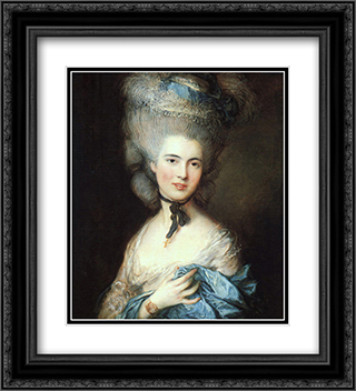 Portrait of a Lady in Blue 20x22 Black or Gold Ornate Framed and Double Matted Art Print by Thomas Gainsborough