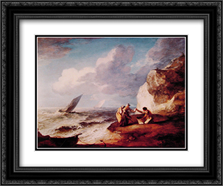 A Rocky Coastal Scene 24x20 Black or Gold Ornate Framed and Double Matted Art Print by Thomas Gainsborough