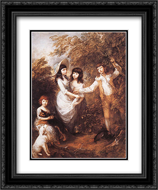 The Marsham Children 20x24 Black or Gold Ornate Framed and Double Matted Art Print by Thomas Gainsborough