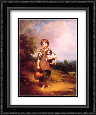 Cottage Girl with Dog and Pitcher 20x24 Black or Gold Ornate Framed and Double Matted Art Print by Thomas Gainsborough