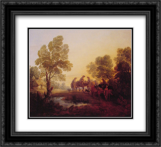 Evening Landscape ' Peasants and Mounted Figures 22x20 Black or Gold Ornate Framed and Double Matted Art Print by Thomas Gainsborough