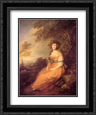 Mrs Sheridan 20x24 Black or Gold Ornate Framed and Double Matted Art Print by Thomas Gainsborough