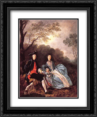 Portrait of the Artist with his Wife and Daughter 20x24 Black or Gold Ornate Framed and Double Matted Art Print by Thomas Gainsborough