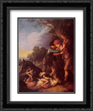 Shepherd Boys with Dogs Fighting 20x24 Black or Gold Ornate Framed and Double Matted Art Print by Thomas Gainsborough
