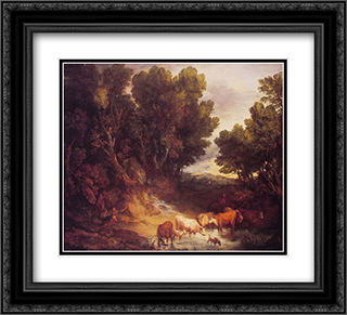 The Watering Place 22x20 Black or Gold Ornate Framed and Double Matted Art Print by Thomas Gainsborough