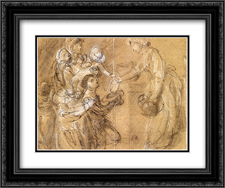 A Study For 'Charity Relieving Distress' 24x20 Black or Gold Ornate Framed and Double Matted Art Print by Thomas Gainsborough