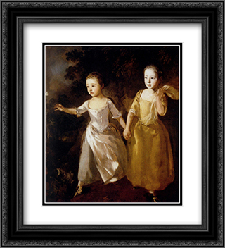 Painter's Daughters 20x22 Black or Gold Ornate Framed and Double Matted Art Print by Thomas Gainsborough