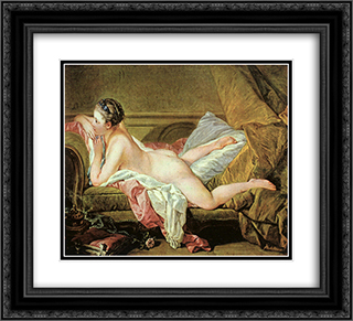 Nude on a Sofa 22x20 Black or Gold Ornate Framed and Double Matted Art Print by Francois Boucher