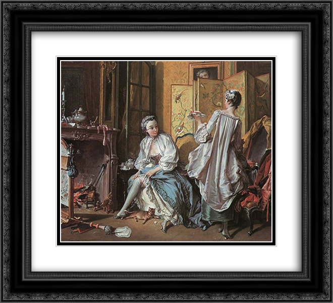 La Toilette 22x20 Black or Gold Ornate Framed and Double Matted Art Print by Francois Boucher