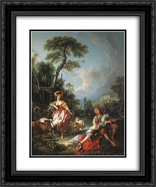 A Summer Pastoral 20x24 Black or Gold Ornate Framed and Double Matted Art Print by Francois Boucher