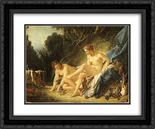 Diana Resting after her Bath 24x20 Black or Gold Ornate Framed and Double Matted Art Print by Francois Boucher