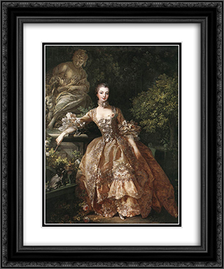 Portrait of Marquise de Pompadour 20x24 Black or Gold Ornate Framed and Double Matted Art Print by Francois Boucher